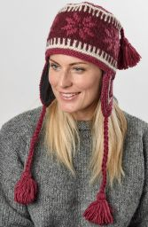 Hand knit - half fleece lined - snowflake tassel - ear flap hat - Berry