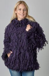 Fleece lined - shaggy jacket - Purple/Black