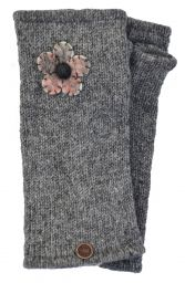 Fleece Lined - Wristwarmers - Felt Flower - Mid Grey