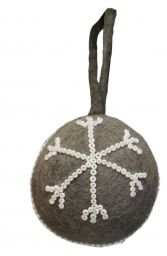 Felt - Beaded - Christmas Bauble - Grey