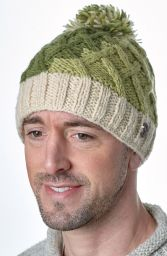 Hand knit - lattice step bobble hat - Greens/cream