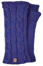 Fleece lined wristwarmer - cable - blue heather