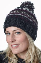 Pattern ridge bobble hat - pure wool - fleece lining - greys / aubergine