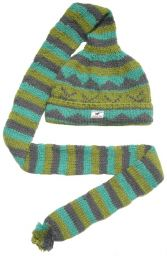 Long tail hat - turn up - pure wool - hand knitted - fleece lining - greens