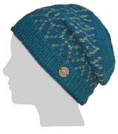 Hand knit - diamond bands - baggy beanie - teal/green