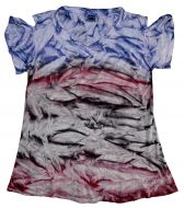 Tie dye short sleeved - open shoulder top - pink / purple