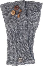 Fleece lined wristwarmer - fruit button - Grey