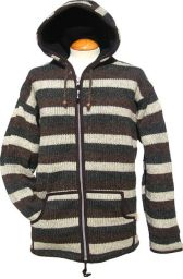 hooded jacket - striped - Grey/Brown/Charcoal