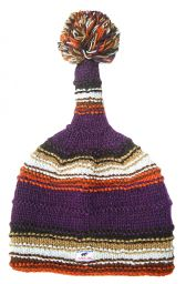 half fleece lined - short tail ridge hat - Purple/Rust