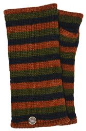 Fleece lined wristwarmer - stripe - Green/brown/black