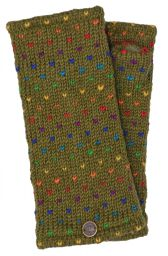 Fleece lined wristwarmer - rainbow tick - olive Green