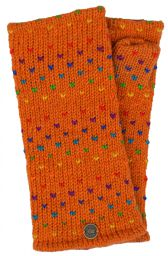 Fleece lined wristwarmer - rainbow tick - Pumpkin