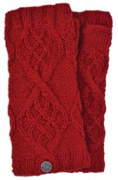 Fleece Lined - Wristwarmers - Trellis Diamond - Deep Red