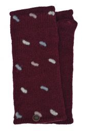Fleece lined wristwarmers - french knot - Wine