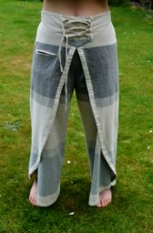 Wraparound trousers - single sharma cotton - grey/cream