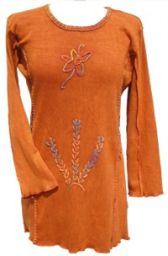 Chainstitch Embroidered - Stonewashed Tunic - Rust