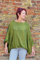 Batwing top - tonal greens