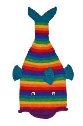 Hand knit - short tailed fish - Rainbow