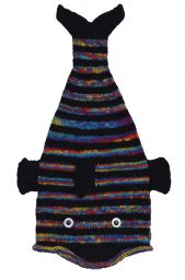 Hand knit - short tailed fish - Black/rainbow stripe