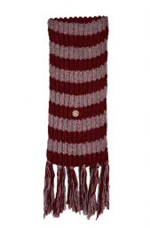 Pure wool - heather mix - stripe scarf - pale/maroon