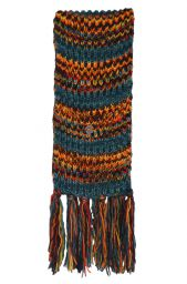 Long pure wool - electric stripe scarf - teal