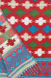 Maltese -  Blanket/shawl - Red multi coloured