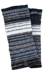 Fully lined - narrow stripe - wristwarmers - natural greys