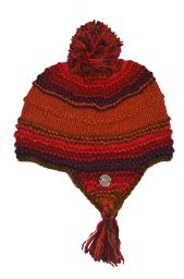 Snowboarder bobble earflap - pure wool - hand knitted - fleece lining - red / rust