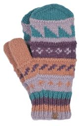 Fleece lined  mittens - patterned - Blush Berry