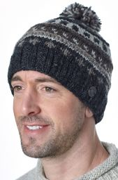 Pattern ridge bobble hat - pure wool - fleece lining - greys / natural