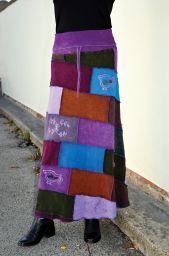 Cotton Patchwork - Maxi Skirt - Purples