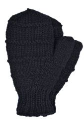 Children's fleece lined - ridge mittens - black