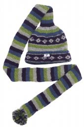 Long tail hat - turn up - pure wool - hand knitted - fleece lining - assorted