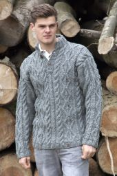 Pure wool jumper - cable - Grey