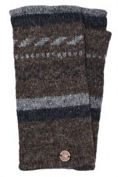 Fleece lined wristwarmer - zigzag - Marl brown