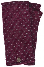 Fleece lined wristwarmer - tick - Blackcurrant/grey