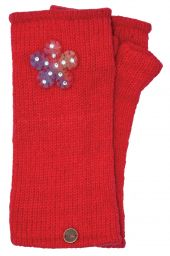 Fleece Lined - Wristwarmers - Sparkle Felt Flower - Red
