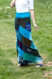 Embroidered - long length skirt - blue