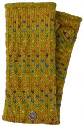 Fleece lined wristwarmer - rainbow tick - Mustard