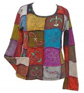 Hand embroidered - patchwork top - greens