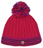 half fleece lined - ribbed bobble hat - pink