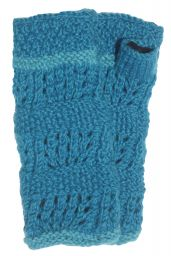Fleece lined wristwarmer - unique - Turquoise