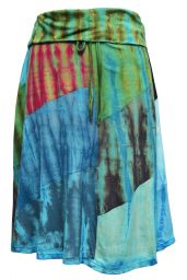 Patchwork - tie dye midi skirt - blues/greens