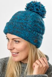 Two tone bobble hat - turn up - pure wool - fleece lining - ocean / grey