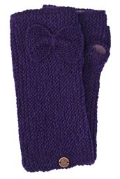Pure wool - single bow - wristwarmers - purple
