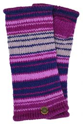 Fully lined - narrow stripe - wristwarmers - purples