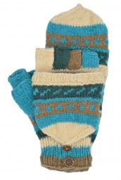 hand knit - pattern mitts - Aqua