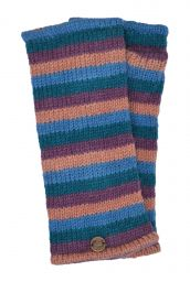 Fleece lined wristwarmer - stripe - Blush mix