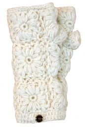 Fleece lined wristwarmer - crochet - White