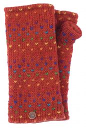 Fleece lined wristwarmer - rainbow tick - Dark Spice